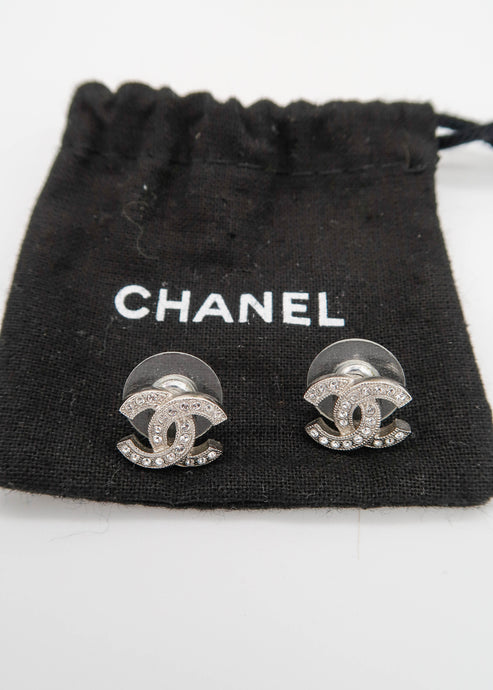 Chanel Logo Stud Silver & Crystal Earrings