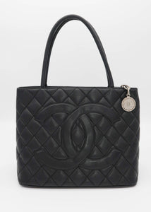 Chanel Black Caviar Medallion Satchel