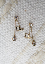 Load image into Gallery viewer, Dior Gold Logo Crystal Earrings