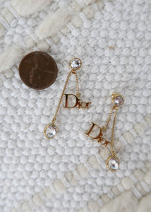 Dior Gold Logo Crystal Earrings