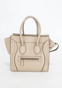 Celine Grained Leather Micro Luggage Grey