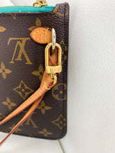 Load image into Gallery viewer, Louis Vuitton Monogram w Turquoise Neverfull Pouch