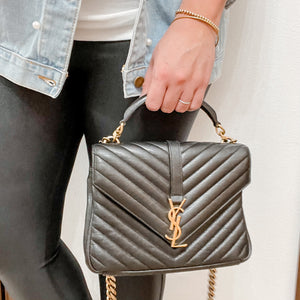 YSL Matelasse Chevron Monogram Medium Black College Bag