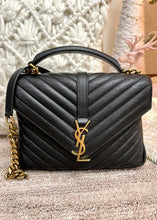 Load image into Gallery viewer, YSL Matelasse Chevron Monogram Medium Black College Bag