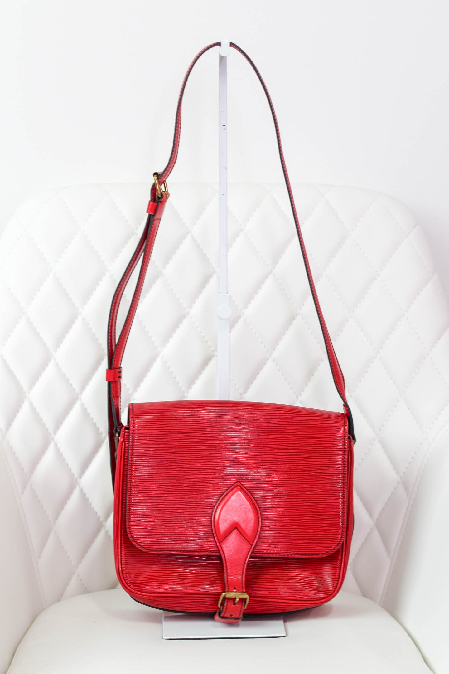 Louis Vuitton Red Epi Cartouchiere MM Crossbody