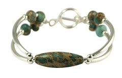 Blue Impression Jasper & Sterling Silver double bar Designer Bracelet.