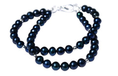 Dark Blue Freshwater Pearl and Sterling Silver Bracelet.