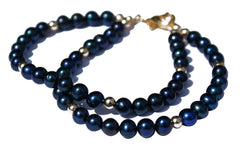 Dark Blue Freshwater Pearl and 9ct Solid Gold Bead Bracelet.