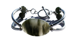 Rutilated Green Quartz  & Sterling Silver double bar Designer Bracelet.