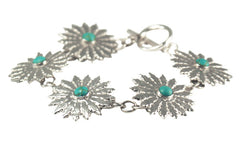 Solid .999 Fine Silver and Turquoise Flower Bracelet