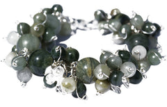 Green Striped Quartz  &Solid Silver Orchid Flower Designer Bracelet.