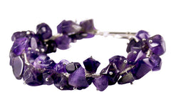 Amethyst and Solid Sterling Silver designer Bracelet