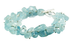 Aquamarine and Solid Sterling Silver designer Bracelet