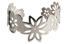 Handmade Solid Sterling Silver Summer flowers Cuff 2