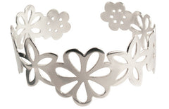 Handmade Solid Sterling Silver Summer flowers Cuff 3