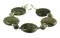 Green Striped Quartz  &Solid Silver bead and clasp Bracelet.