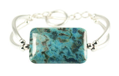 Larimar Blue Crazy Lace Agate & Sterling Silver double bar Designer Bracelet.
