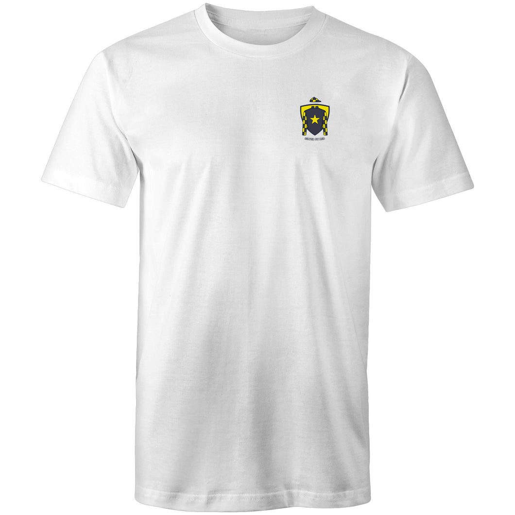 SILVER ON RED T-SHIRT (BADGE)