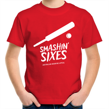 Load image into Gallery viewer, SMASHIN' SIXES - BUSHFIRE APPEAL KIDS YOUTH T-SHIRT (REVERSE)