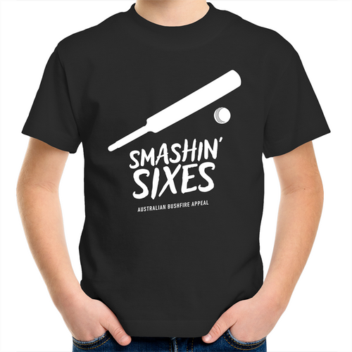 SMASHIN' SIXES - BUSHFIRE APPEAL KIDS YOUTH T-SHIRT (REVERSE)