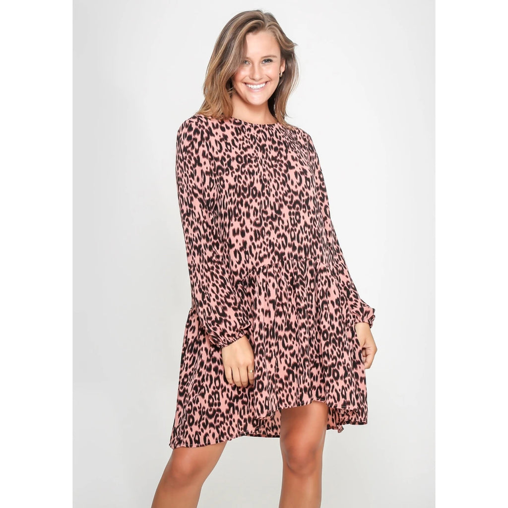 Zoe Leopard Dress in Blush