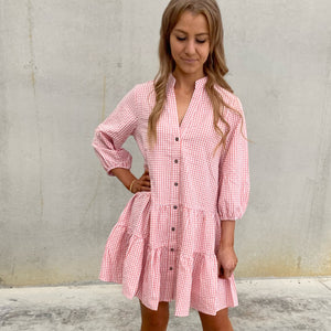 Brooke Dress - Pink Gingham
