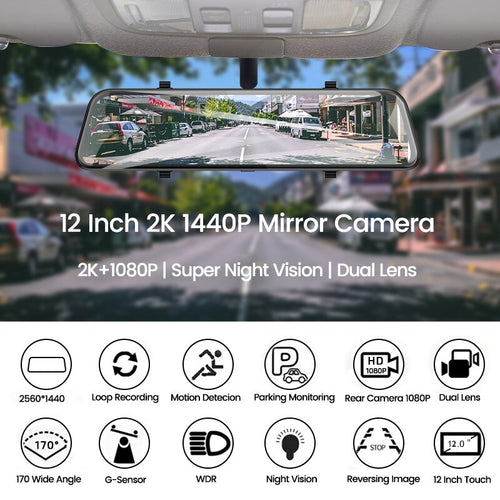 Latest 12 Inch Touch Screen 2K Car DVR Dash Camera Dual Lens Rearview Mirror 1080P Back Camera
