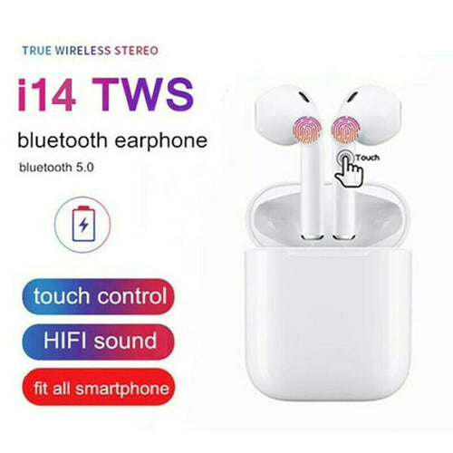 New i14 TWS Bluetooth 5.0 Earphone Smart Touch Control Wireless Earbuds With Charging Box