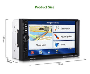 "7"" Double 2 DIN Car MP5 Player Bluetooth Touch Screen Stereo FM Radio GPS AU MAP"