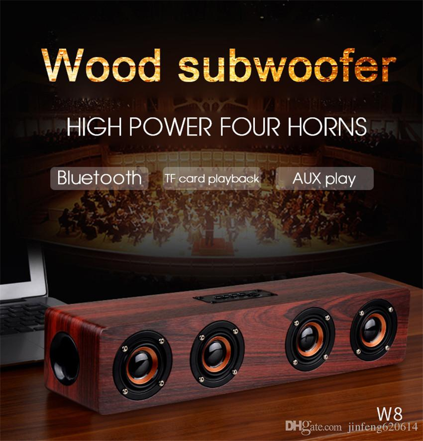 Home Theatre Wireless Bluetooth Speakers 12W Hifi Wooden Stereo Subwoofer Audio Desk