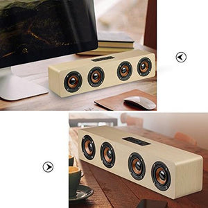 High-power Wooden Bluetooth Speaker With Four Horns Support Hands-free Calling