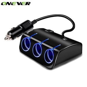 MULTI CAR POWER LIGHTER SPLITTER 12V/24V 3WAY SOCKET Switch + 2 USB PLUG CHARGER