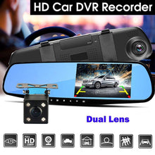 "Load image into Gallery viewer, 3 in 1 Camera 4.3"" Mirror Dash Cam 1080P Front and Rear Dual Lens Car Camera with Parking Assistance"