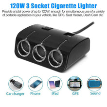 Load image into Gallery viewer, MULTI CAR POWER LIGHTER SPLITTER 12V/24V 3WAY SOCKET Switch + 2 USB PLUG CHARGER