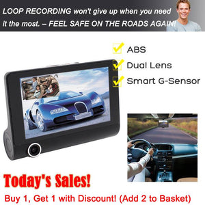 "HD Car DVR 4"" 3 Lens Dash Cam Front Inside& Outside + Rear Video Recorder Camera"