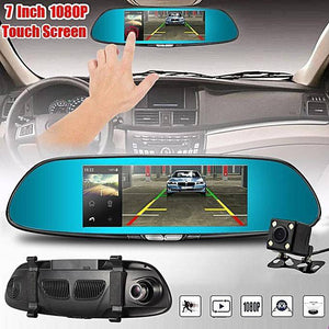 "7"" New Touch screen Dual Lens Car DVR 1080P Dash Cam Reversing Rear Camera Mirror Video Recorder"