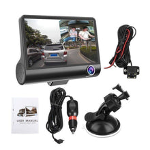"Load image into Gallery viewer, HD Car DVR 4"" 3 Lens Dash Cam Front Inside& Outside + Rear Video Recorder Camera"