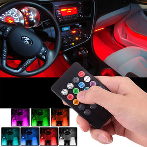 📲🚗💡4x LED Strip Light Lamp Car Interior Decorative Strip Lights 12LED Bulb Each 12V+ Remote Control