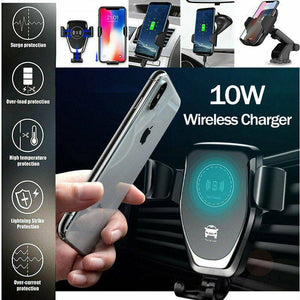 🔌📱Qi Wireless Fast Charger Car Holder Auto Lock Mount For iPhone Samsung etc