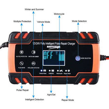 Load image into Gallery viewer, New 12V 24V Car Battery Charger Repair LCD Display Truck Boat Motercycle Battery 8A