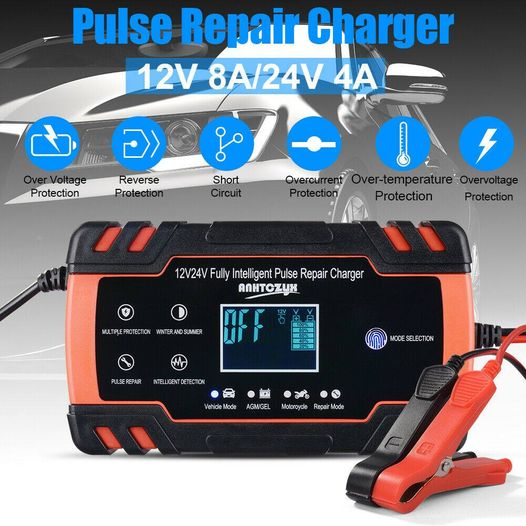 New 12V 24V Car Battery Charger Repair LCD Display Truck Boat Motercycle Battery 8A