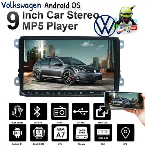 New 9inch Android 9.1 Car Stereo GPS Navigation Android For VW GOLF 5 VI Variant PASSAT Touran