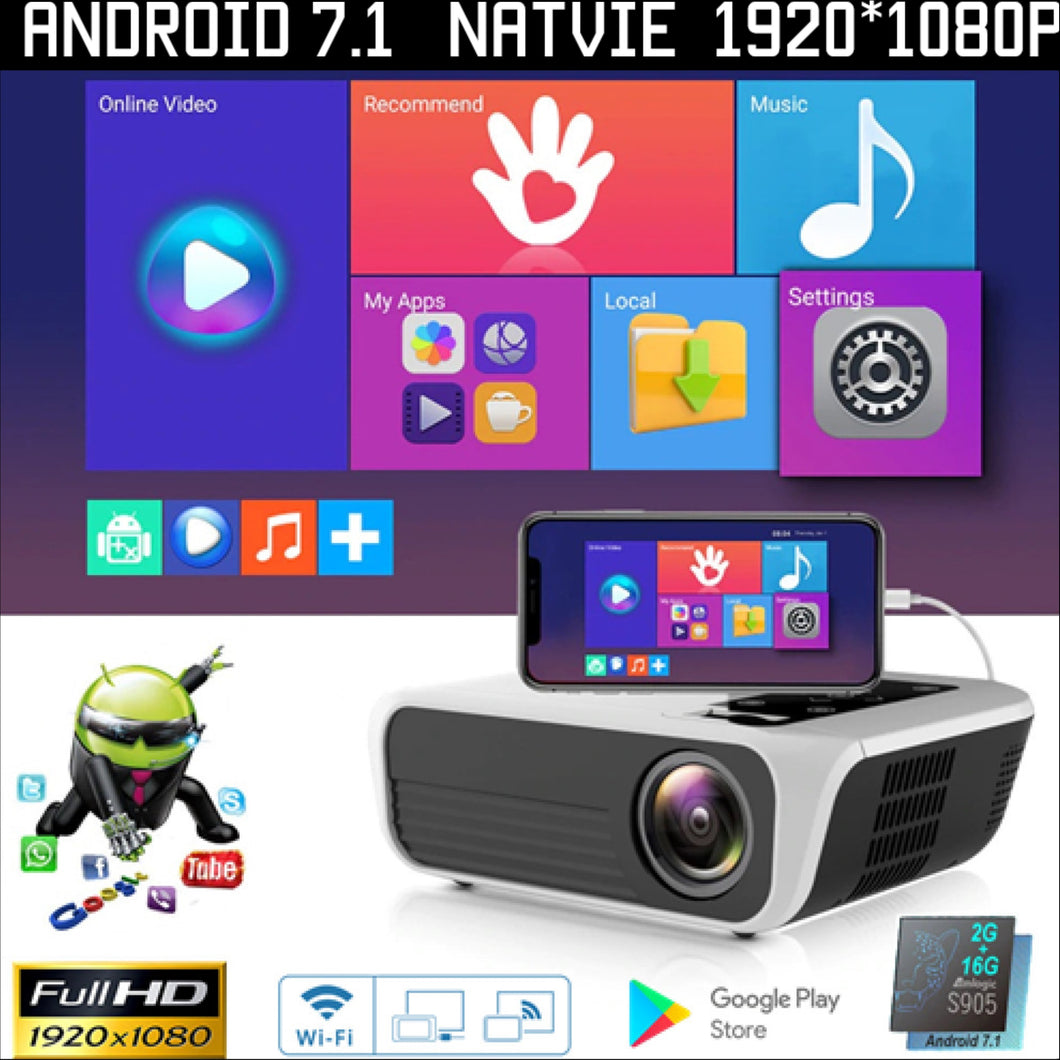 New 2021 Top Native1920x1080 4500 Lumens 2G 16G Android OS 7.1 Protector WiFi Bluetooth