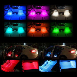 2021  4 x 12 LED Mobile APP Control Colorful RGB Car Interior Floor Atmosphere Light Strip
