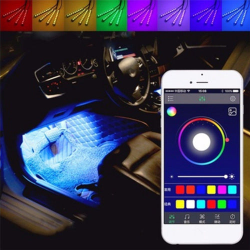 2019 4 x 12 LED Mobile APP Control Colorful RGB Car Interior Floor Atmosphere Light Strip