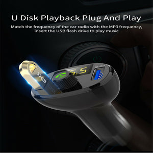 Bluetooth Car Kit Handsfree FM Transmitter Support U Disk Music Car MP3 Player Dual USB 3A Quick Charge