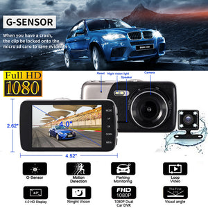 New 1080P FHD 4.0 inch IPS Screen Car Dash Dual Lens Cam Camera Video Front and Rear
