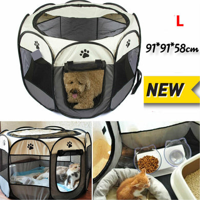 New 8 Panel Pet Kennel Portable Tent Soft Playpen Puppy Large Capacity 91cm*91cm*58cm