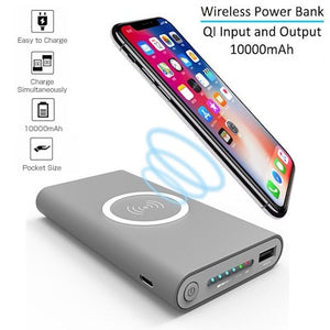 Qi Wireless Charger QC3.0 Power Bank 10000mAh Wireless Power Bank 3-Port Portable Charger External Battery Pack with USB-C