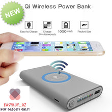 Load image into Gallery viewer, Qi Wireless Charger QC3.0 Power Bank 10000mAh Wireless Power Bank 3-Port Portable Charger External Battery Pack with USB-C